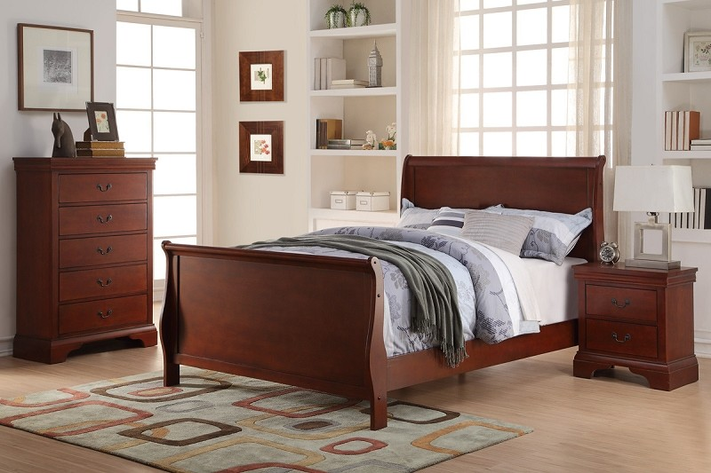 POUNDEX TWIN  BED CHERRY FINISH, F9231T