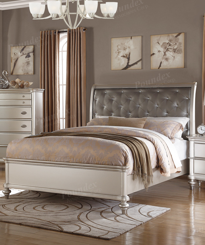 silver bed frame queen poundex silver bed frame f9317q 5212