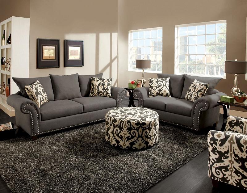 Gray Nailhead Sofa Sectional Sofas