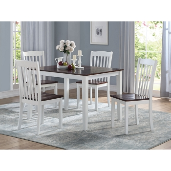 ACME, 5 PCS DINING SET WHITE AND DARK WALNUT, 77065