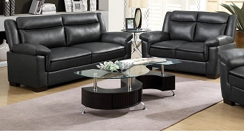 2 PCS SOFA SET GRAY LEATHERETTE