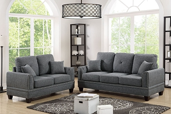 POUNDEX, 2 PIECES SOFA SET GRAY, F6507