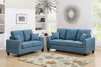 POUNDEX, 2 PIECES SOFA SET GRAY, F6508
