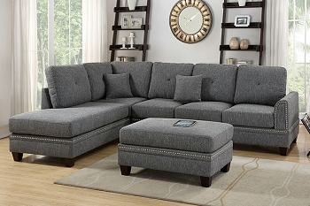 POUNDEX, SECTIONAL ASH BLACK  (OTTOMAN SOLD SEPARATELY)