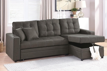 POUNDEX, CONVERTIBLE SECTIONAL ASH BLACK FABRIC, F6591
