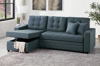 POUNDEX, CONVERTIBLE SECTIONAL GRAY FABRIC, F6593