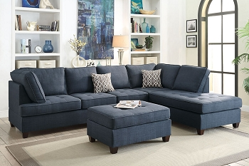 POUNDEX, SECTIONAL REVERSIBLE DARK BLUE (OTTOMAN SOLD SEPARATELY) . F6989