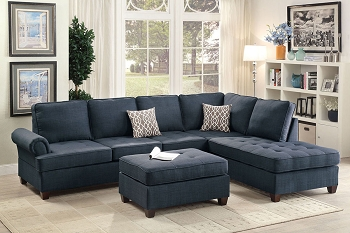 POUNDEX, REVERSIBLE SECTIONAL BLUE, F6991 ( OTTOMAN SOLD SEPARATELY )