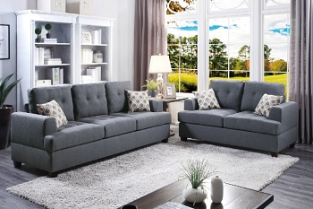 POUNDEX, 2 PCS SOFA SET GRAY , F7600