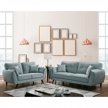 PHILLIPA, 2 PCS SOFA SET TEAL FABRIC, CM6610