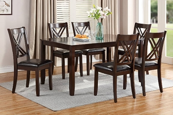 POUNDEX, 7 PCS DINING SET DARK WALNUT WOODEN TOP , F2554