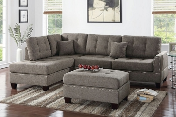 POUNDEX BRAND NEW SECTIONAL + OTTOMAN SAND LINEN-LIKE FABRIC, F6504
