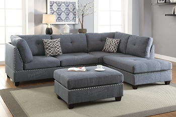 POUNDEX BRAND NEW 3 PCS SECTIONAL GRAY LINEN-LIKE FABRIC, F6975