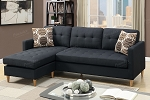 POUNDEX REVERSIBLE SECTIONAL BLACK POLYFIBER, F7084
