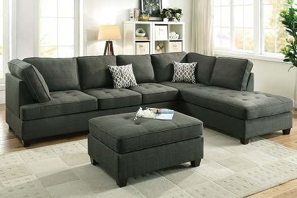 POUNDEX, SECTIONAL REVERSIBLE ASH BLACK (OTTOMAN SOLD SEPARATELY). F6988