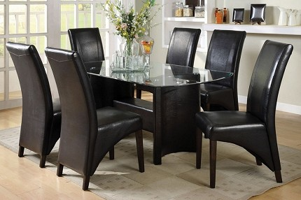 7PCS DINETTE SET GLASS TOP TABLE + 6 ESPRESSO SIDE CHAIRS