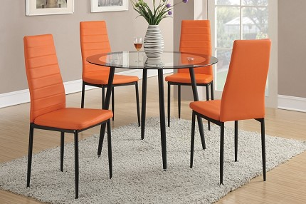 POUNDEX, 5PC DINETTE SET, TABLE+4 CHAIRS, F2203, F1368