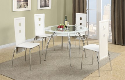 5 PCS TABLE + 4 CHAIRS GLASS TOP TABLE
