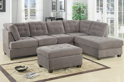 POUNDEX 2 P CS SECTIONAL SET WAFFLE SUEDE (OTTOMAN SOLD SEPARATELY), F7139